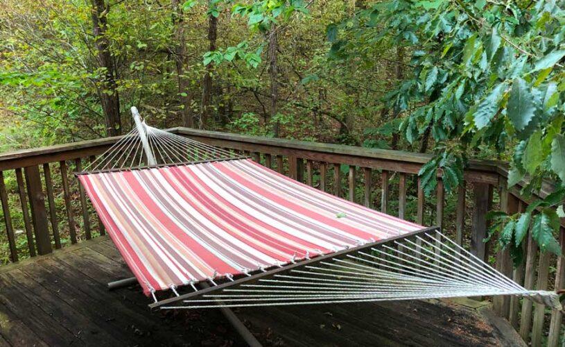 hideaway cabin hammock on the deck