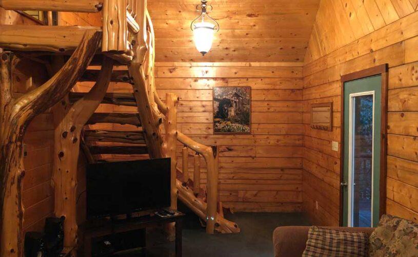 hideaway cabin rustic stairs to loft