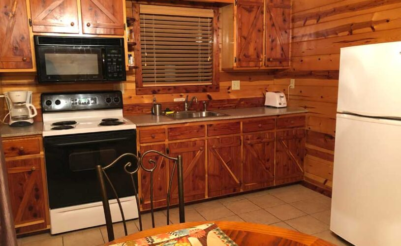 hilltop hideaway cabin kitchen