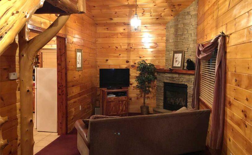 hilltop hideaway cabin living room