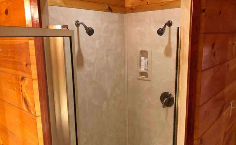 hilltop hideaway cabin shower for two
