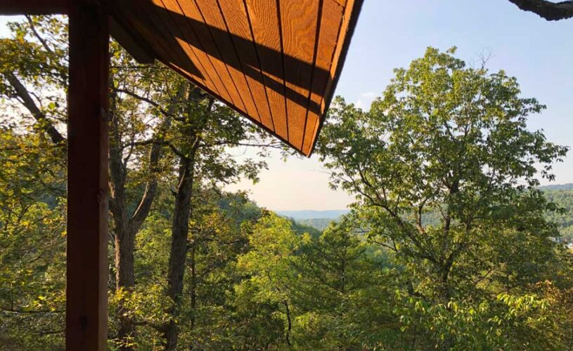 view from the deck at hilltop hideaway cabin