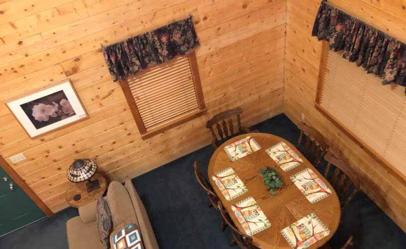 shady oak cabin dining room from above